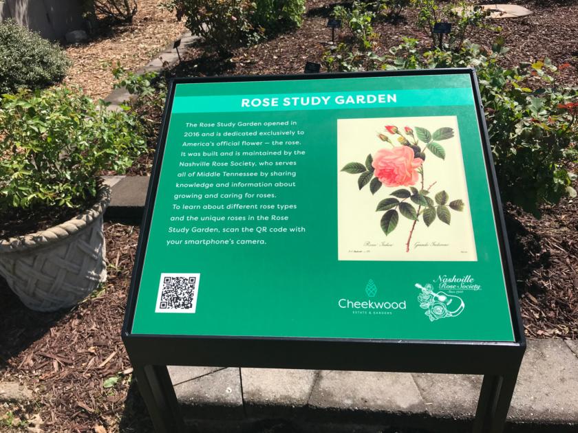 Rose Study Garden QR code sign